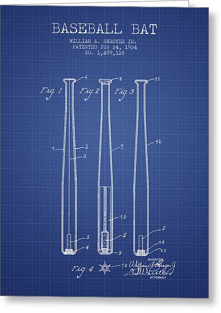 Baseball Bat Patent From 1924 - Blueprint Greeting Card by Aged Pixel
