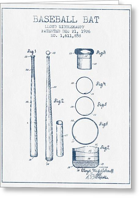 Baseball Bat Patent From 1926 - Blue Ink Greeting Card