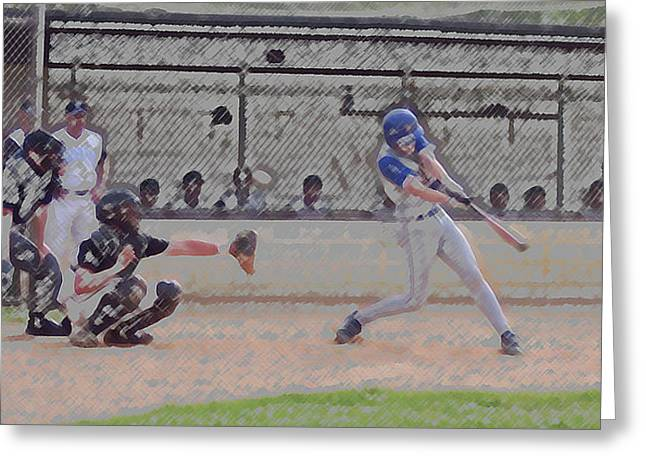 Baseball Batter Contact Digital Art Greeting Card by Thomas Woolworth