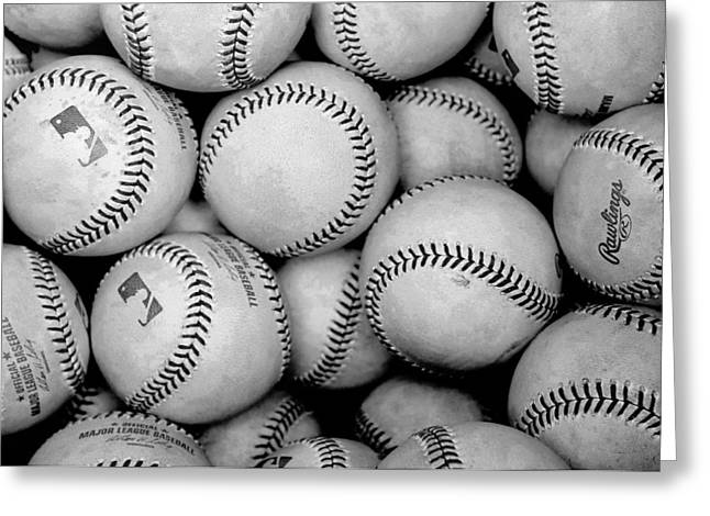Baseball Black And White Greeting Card by Joe Hamilton