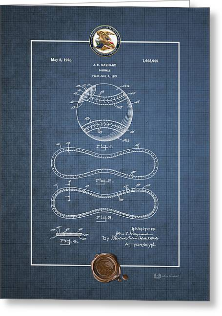 Baseball By John E. Maynard - Vintage Patent Blueprint Greeting Card