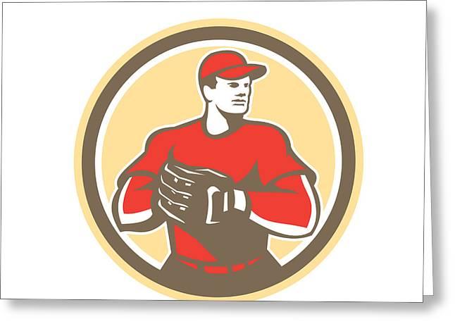 Baseball Catcher Gloves Circle Retro Greeting Card