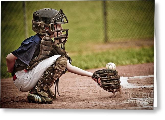 Baseball Catcher Greeting Card by Jt PhotoDesign