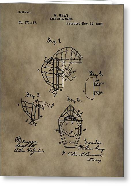 Baseball Catcher's Mask Patent Greeting Card by Dan Sproul
