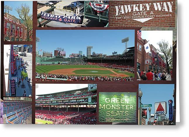 Baseball Collage Greeting Card by Barbara McDevitt