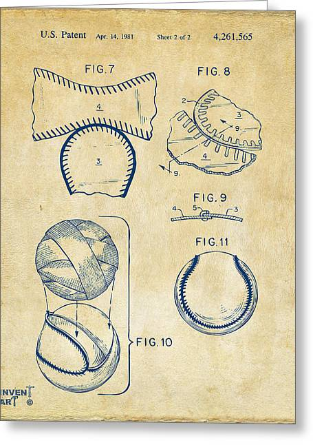 Baseball Construction Patent 2 - Vintage Greeting Card by Nikki Marie Smith