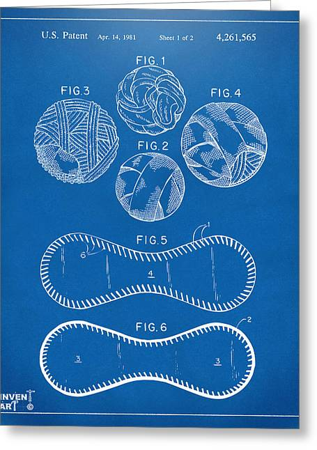 Baseball Construction Patent - Blueprint Greeting Card