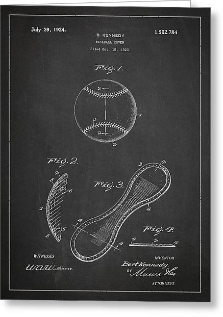 Baseball Cover Patent Drawing From 1923 Greeting Card by Aged Pixel