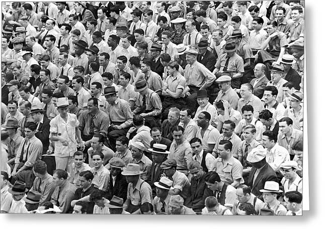 Baseball Fans In The Bleachers At Yankee Stadium. Greeting Card by Underwood Archives