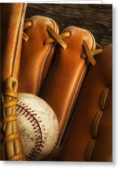Baseball Glove And Baseball Greeting Card by Chris Knorr
