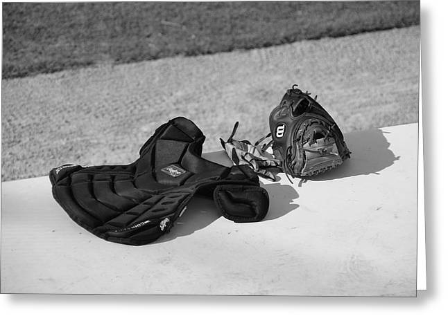 Baseball Glove And Chest Protector Greeting Card by Frank Romeo