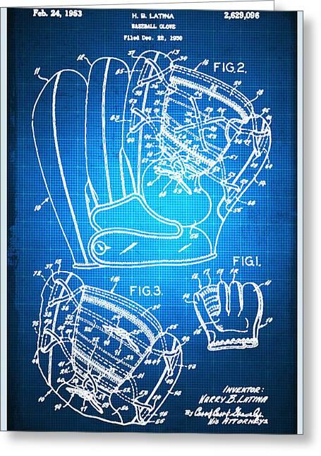 Baseball Glove Patent Blueprint Drawing Greeting Card by Tony Rubino