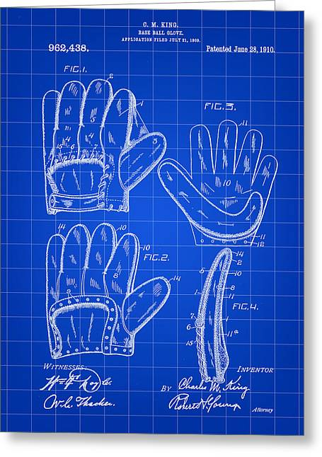 Baseball Glove Patent 1909 - Blue Greeting Card by Stephen Younts