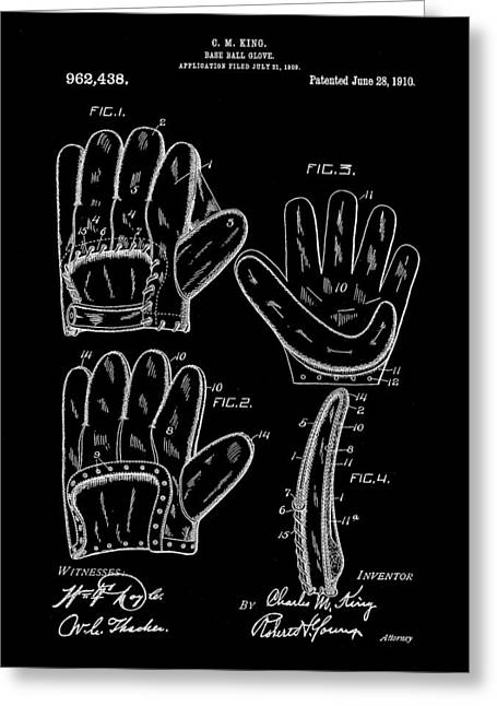 Baseball Glove Patent 1909 - Black Greeting Card by Stephen Younts