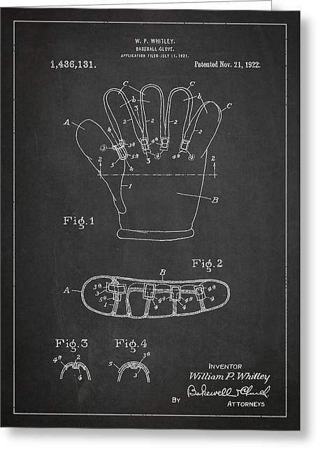 Baseball Glove Patent Drawing From 1922 Greeting Card