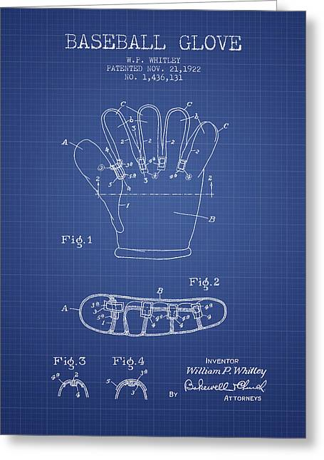 Baseball Glove Patent From 1922 - Blueprint Greeting Card