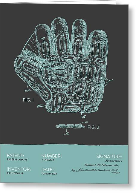 Baseball Glove Patent From 1924 - Gray Blue Greeting Card by Aged Pixel