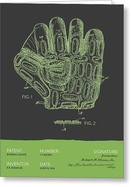 Baseball Glove Patent From 1924 - Gray Green Greeting Card by Aged Pixel