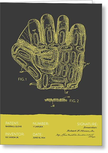 Baseball Glove Patent From 1924 - Gray Yellow Greeting Card by Aged Pixel