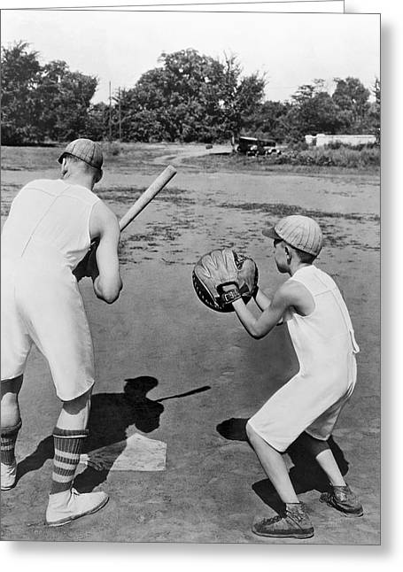 Baseball In Union Suits Greeting Card
