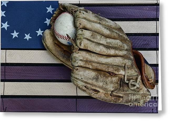 Baseball Mitt On American Flag Folk Art Greeting Card by Paul Ward
