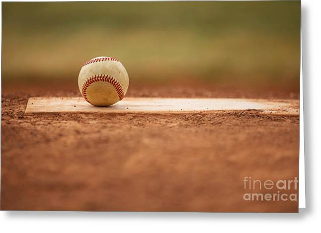 Baseball On The Pitchers Mound Greeting Card