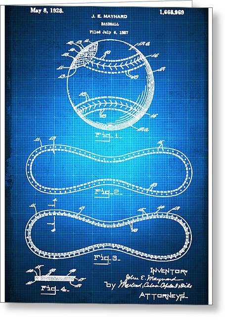 Baseball Patent Blueprint Drawing Greeting Card by Tony Rubino