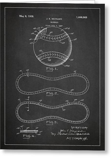 Baseball Patent Drawing From 1927 Greeting Card by Aged Pixel