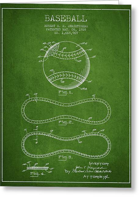 Baseball Patent Drawing From 1928 Greeting Card by Aged Pixel