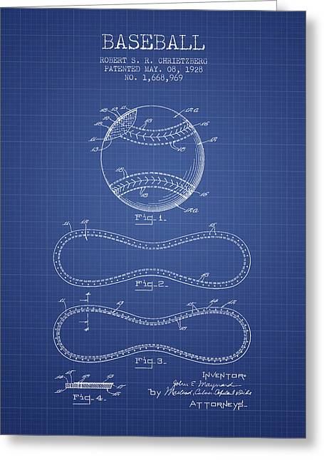 Baseball Patent From 1928 - Blueprint Greeting Card