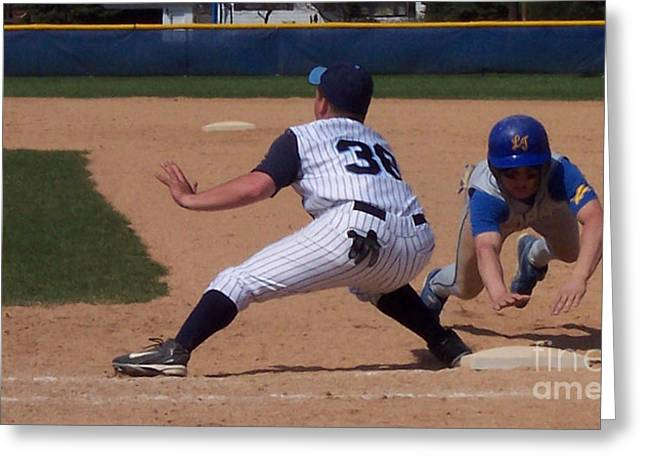 Baseball Pick Off Attempt Greeting Card by Thomas Woolworth