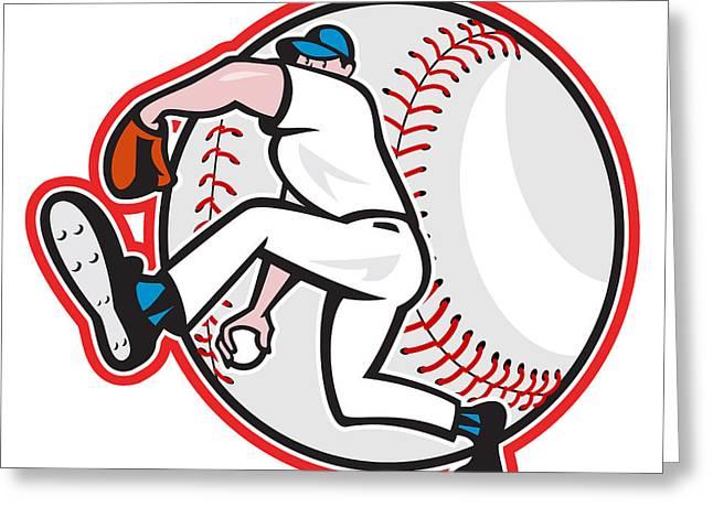 Baseball Pitcher Throw Ball Cartoon Greeting Card by Aloysius Patrimonio