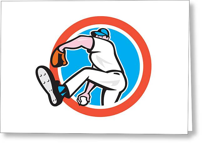 Baseball Pitcher Throwing Ball Circle Cartoon Greeting Card by Aloysius Patrimonio