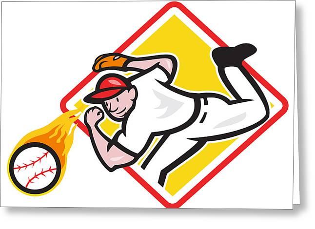 Baseball Pitcher Throwing Fire Ball Diamond Greeting Card by Aloysius Patrimonio