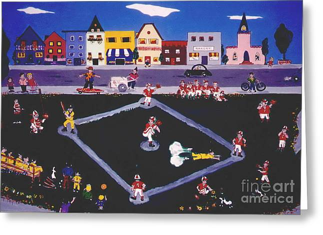 Greeting Card featuring the painting Baseball Practice by Joyce Gebauer