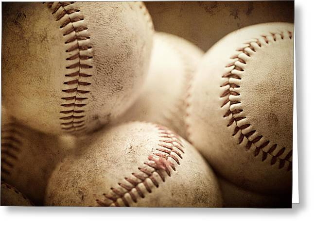 Baseball Sports Art Pile Of Well Worn Baseballs  Greeting Card by Lisa Russo