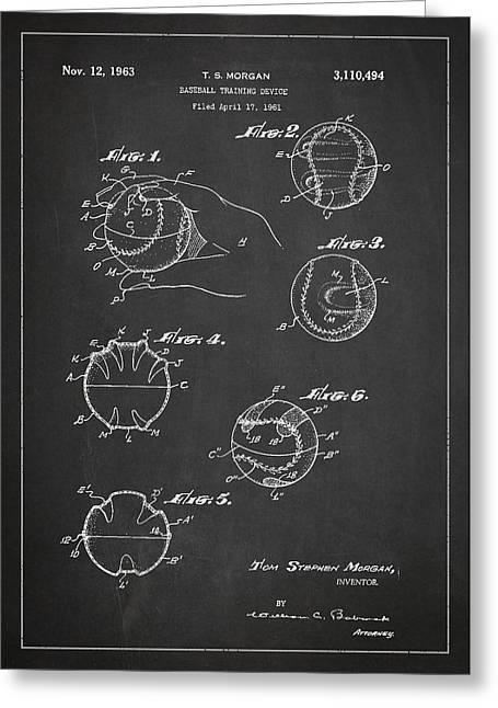 Baseball Training Device Patent Drawing From 1961 Greeting Card by Aged Pixel