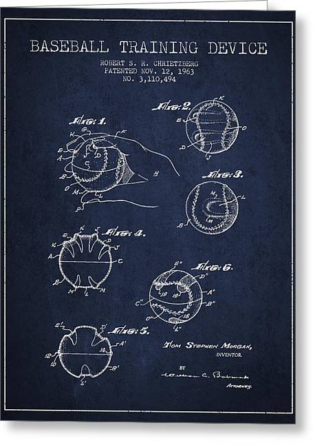 Baseball Training Device Patent Drawing From 1963 Greeting Card by Aged Pixel