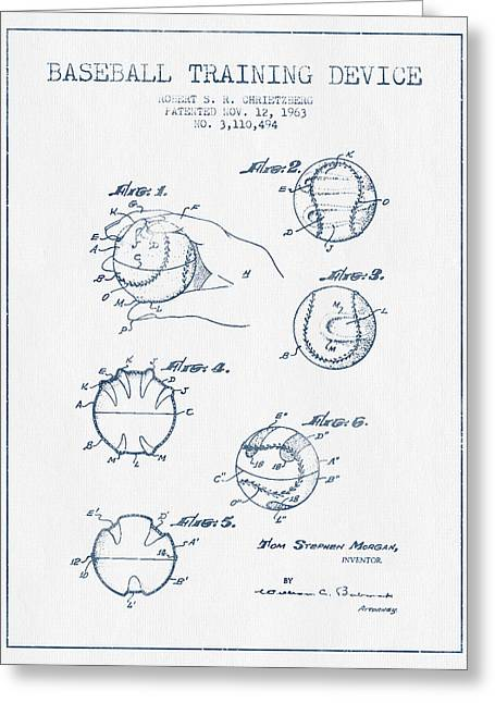 Baseball Training Device Patent Drawing From 1963 - Blue Ink Greeting Card by Aged Pixel