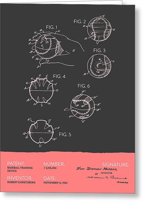 Baseball Training Device Patent From 1963 - Gray Salmon Greeting Card by Aged Pixel