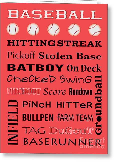 Baseball Typography Greeting Card by Terry Weaver