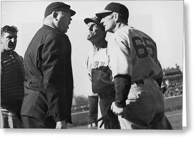 Baseball Umpire Dispute Greeting Card by Underwood Archives