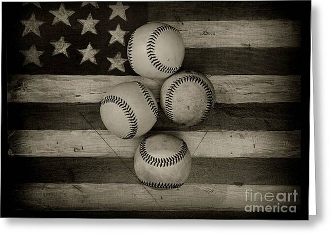 Baseball Usa In Black And White Greeting Card by Paul Ward
