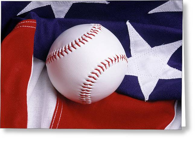 Baseball With American Flag Greeting Card
