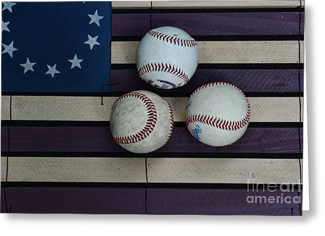 Baseballs On American Flag Folkart Greeting Card by Paul Ward