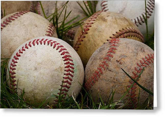 Baseballs On The Grass Greeting Card