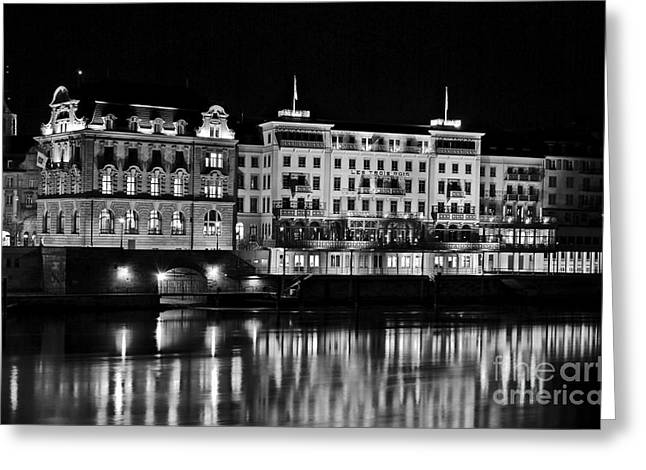 Basel By Night - Grand Hotel Les Trois Rois Greeting Card by Carlos Alkmin