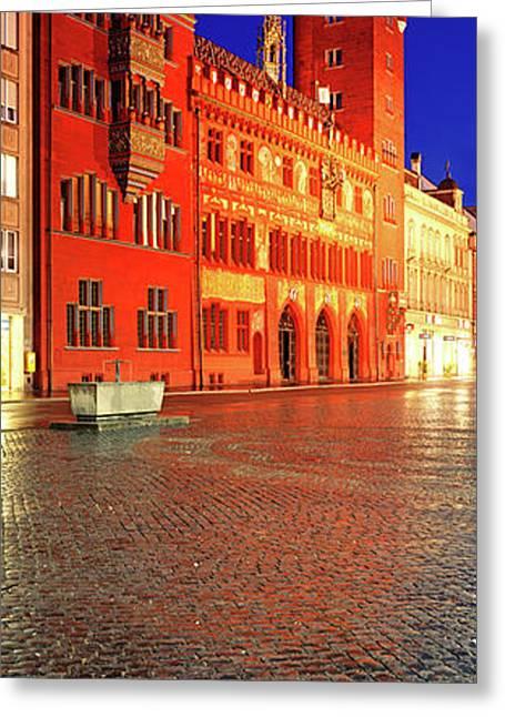 Basel Town Hall At Night, Market Greeting Card