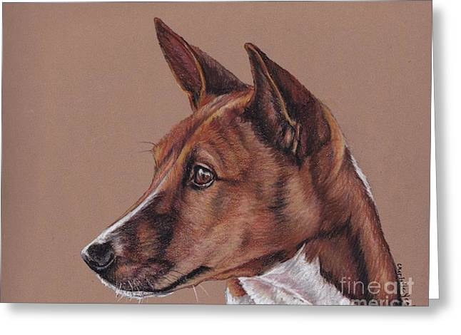 Basenji Greeting Card by Charlotte Yealey
