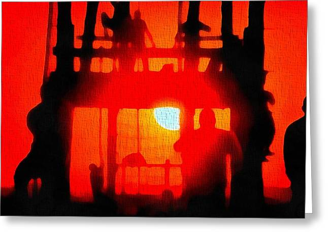 Basic Training Obstacle Course At Sunset Greeting Card by Dan Sproul